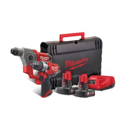 Kit Fuel Milwaukee M12 CPP2B-602X Tassellatore + Trapano a percussione batterie 6 Ah
